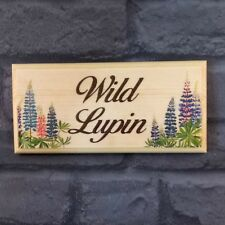 Personalised Lupin Plaque / Sign / Gift - Flowers House Name Number Home Door