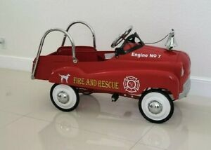 VINTAGE FIRE TRUCK PEDAL CAR RED FIRE AND RESCUE ALREADY RESTORED BEAUTY