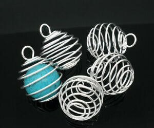 Silver Plated Large Spiral Cage Pendants for Beads Tumble Stones Gemstones