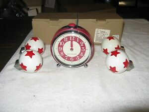 POTTERY BARN KIDS RETRO TWO TONE ALARM CLOCK/ W 2 SETS OF MATCHING CURTIN FINIAL