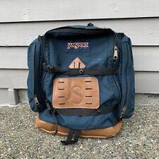 Vintage 90's Jansport Leather Bottom & Logo Green Canvas Backpack Daypack Straps