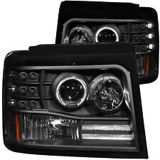 Anzo Projector Halo Headlights Black w/Side Marker&Parking Lights For 92-96 Ford