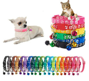 Colourful Nylon Adjustable Kitten Puppy Cat Collar Cute Paw Print Bell 12 Colors