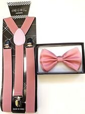 New Wedding Blush Pink Dusty Rose Men's Bow Tie & Suspender & Bow Tie Set