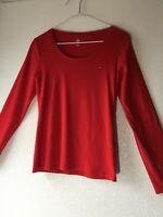 Tommy Hilfiger Womens M Long Sleeve Scoop Neck T-shirt 100% Cotton Red