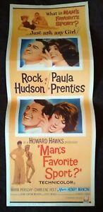 Man's Favorite Sport 1964 Vintage Insert Poster Rock Hudson Paula Prentiss