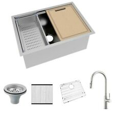 Glacier Bay Undermount 27 in Single Bowl Stainless Kitchen Sink Kit +Faucet