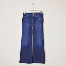 $148 7 For All Mankind Dark Dojo Chain Wide Leg Flare Stretch Denim Jeans 26 30