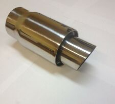 """UNIVERSAL FIT 2"""" ROUND SLANTED CUT STAINLESS MUFFLER TIP RESONATED MT-76-12"""