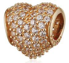 Pandora 750828cz 14k Gold Pave Heart Charm Cubic Zirconia European Bead