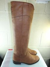 CHANEL Brown Leather Ascot CC Logo Knee High Riding Boots Women Size 37.5 / 7.5M