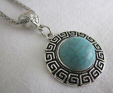 Silver & Turquoise Tone Circular Statement Pendant Necklace Vintage Hippy Boho