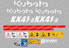 Kubota KX41-3 Mini Bagger komplette Aufkleber Satz mit sicherheit-warnzeichen
