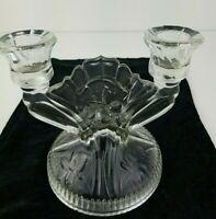 Clear Glass 2 Light Candlestick Candle Holder Floral Design Vintage
