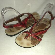 Reef Women's 10 Red Snake Print Toe Post Slingback Flat Sandals