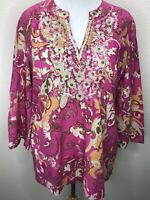 Women's Charter Club Size XL Pink Gold Embellished 3/4 Sleeve Top Blouse