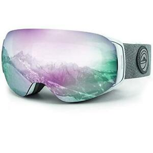 WildHorn Outfitters Roca Snowboard and Ski Goggles - Arctic White / Sapphire