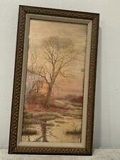 Antique Framed Silk Embroidery Tapestry Textile Picture Trees & Landscape Water