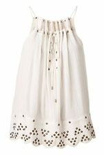 Witchery White Eyelet Rope Cami Top Size 12 Cotton Embellished Casual Womens