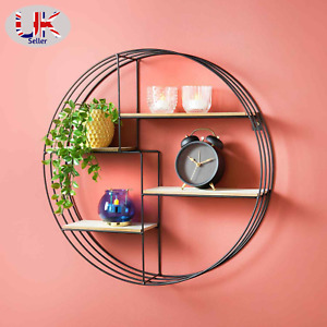 Round Multi Section Shelf Metal Wire Wall Mounted Floating Shelves Display Unit