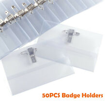 50PCS Clear Plastic ID NAME BADGES With Crocodile CLIP And Safety PIN 9x5.5cm UK