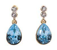 Swarovski Elements Crystal Aquamarine Teardrop Earrings Gold Authentic 7332Aw