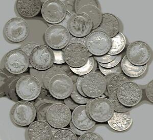 Sixpences Bulk Lot Of 100 Circulated George V .500 Silver (1920- 1936) Pre-47 AR
