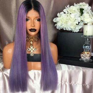 "Stock Lace Front Brazilian #1B/Purple Straight Human Hair Wig 10"" 130% Den"