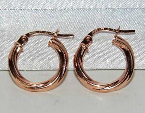 9CT ROSE GOLD TWISTED HOOP LADIES CREOLE EARRINGS -