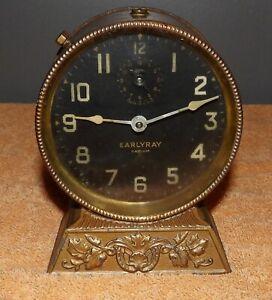 """Rare EarlyRay """"Radium"""" Alarm Clock *Runs* Pat Date Jan. 14 1913"""