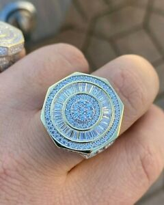 Men's Iced Out Baguette Cut Stone Octagon Pinky Ring Solid 925 Sterling Silver