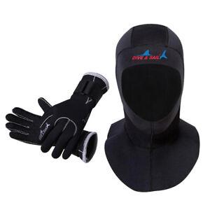 Adjustable Gloves Wetsuit Neoprene Black 3mm Men/Women Dive Surfing Hood