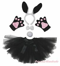 Easter Party Adult Women Black Bunny Rabbit Headband Paw Tail Bow Skirt Costume