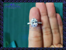 2ct Oval-Cut Diamond Solitaire Engagement Ring Real 14k White Gold