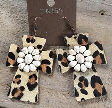 Big Western Faux Leather Hide Leopard Dangling White Flower Earrings