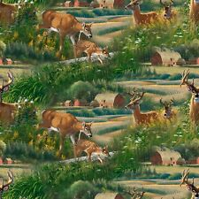 Wild Wings Feast In The Valley 66449 Deer Scenic 100% cotton fabric by the yard