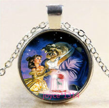 Beauty and Beast Cabochon Tibetan silver Glass Chain Pendant Necklace #3811