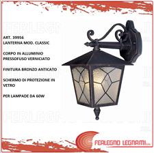 Lampada ESTERNO LAMPADA PARETE in vera-ottone bronzo antico vetro massiccio e27 a 70w ip44