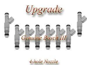 01-04 Jeep 4.7 (8)  BOSCH III UPGRADE FUEL INJECTOR SET 4-HOLE NOZZLE