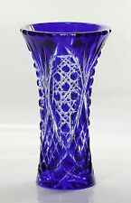 Russian Cut to clear Overlay Cased Crystal Vase, 21 cm high, BLUE