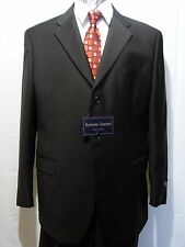 Men's Three Button Suit, Made in Italy,Roberto Zanieri, Black, 46R, NWT