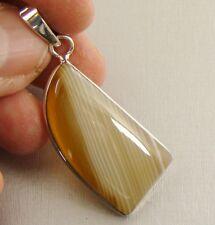 Semi Precious BOTSWANA AGATE 925 Sterling Silver Pendant  - 5s