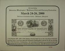 2000 March 28th Spring Washington Baltimore Coin & Currency Show Souvenir Card
