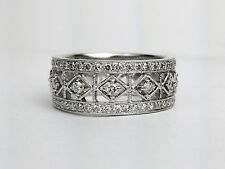 18K White Gold Round Diamond Wide Filigree Design Wedding Band Right Hand Ring