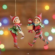 "Raz Imports 5"" Christmas Red & Green Elf Ornaments - Set of 2 - 3620034"