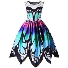 Womens Butterfly Printing Sleeveless Party Dress Vintage Swing Skater Lace Dress Multicolor 3xl