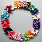 5/15/25pcs Satin Ribbon Flowers W/Crystal Appliques Crafts Wedding Sewing DIY US