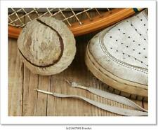 Old Tennis Ball And Sneakers On Art/Canvas Print. Poster, Wall Art, Home Decor