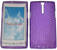For Sony Xperia S LT26i LT26 Pattern Soft Gel Case Protector Cover Purple New UK
