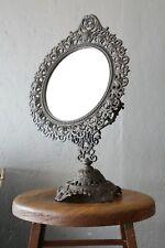 Antique Shaving mirror Barber Shop bathroom vanity cast iron base swivel mount